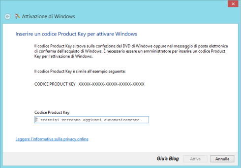 Metodo altern. per Windows 8 - Slui 3