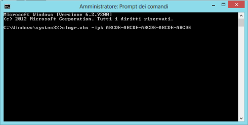 Cambiare seriale via prompt - Windows 8