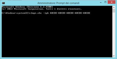 Cambiare seriale via prompt - Windows 8
