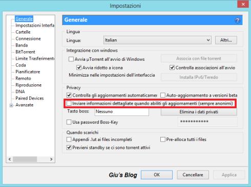 "Configurazione uTorrent - Scheda ""Generale"""