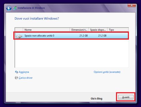 Selezionate la partizione dove installare Windows 8 (potrebbe essere necessaria la formattazione)